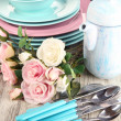 Lots beautiful dishes on wooden table close-up — Stock Photo #31109435