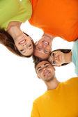 Mutlu bir grup üzerinde beyaz izole güzel genç insan — Stok fotoğraf