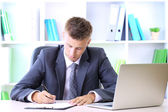 Portrait of young businessman working in office — Stockfoto