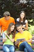 Mutlu grup parkta oturan genç öğrenci — Stok fotoğraf