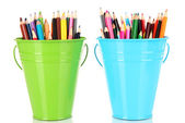 Color buckets with multicolor pencils, isolated on white — Stockfoto
