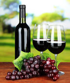 Ripe grapes, bottle and glasses of wine on bright background — Stock Photo