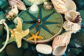时钟在海底的贝壳和石头 — 图库照片