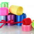 Many bright ribbons of different sizes isolated on white — Stock Photo