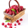 Ripe sweet raspberries in wooden basket, isolated on white — Stock Photo #31123541