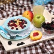 Oatmeal in plate with berries on napkins on wooden tray on bad — Stock Photo #31124929