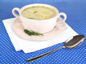Nourishing soup in pink pan on blue tablecloth close-up — Foto de Stock