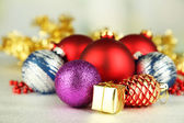 Christmas decorations on grey background — Stock Photo