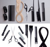 Professional hairdresser tools on white and gray background — Stock Photo