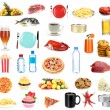Set of food and drinks isolated on white — Stock Photo