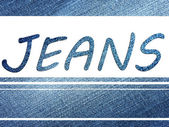 Inscription Jeans on jeans background — Stock Photo