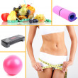 Collage about sport, dieting and healthy eating — Stock Photo #31175787