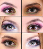 Collage of different eye make-up — Stock Photo