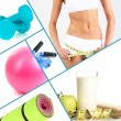 Collage about sport, dieting and healthy eating — Stock Photo #31274261