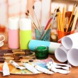 Artistic equipment: paint, brushes and art palette — Stock Photo #31282155