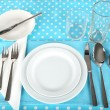 Table setting for breakfast — Stock Photo