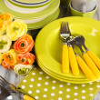 Lots beautiful dishes on wooden table close-up — Stock Photo #31282787