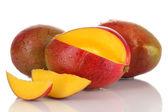 Ripe appetizing mango isolated on white — Stock Photo