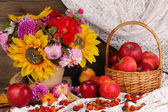 Colorful autumn still life with apples — Stock Photo