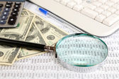 Financial information and money close-up — Stock Photo