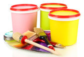 Set for painting: paint pots, brushes, paint-roller isolated on white — Stock Photo