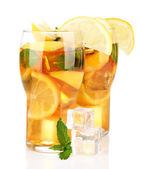 Iced tea with lemon and mint isolated on white — Stock Photo
