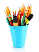 Colorful pencils and other art supplies in pail isolated on white — Stock Photo