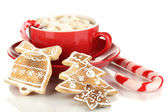 Cup of coffee with Christmas sweetness isolated on white — Stock Photo