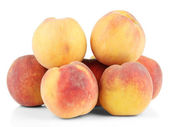 Ripe sweet peaches, isolated on white — Stock Photo