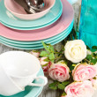Lots beautiful dishes on wooden table close-up — Stock Photo #31506019
