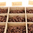 Coffee beans in wooden box close-up — Stock Photo #31506961