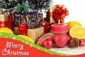 композиция из рождественские украшения, изолированные на белом фоне — Стоковое фото