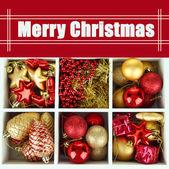 Dřevěné krabici s vánoční ozdoby, zblízka — Stock fotografie