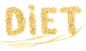 "The word ""diet"" made from oat flakes with ears isolated on white — Stockfoto"