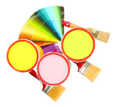 Set for painting: paint pots, brushes, palette of colors isolated on white — Stock Photo