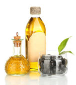 Olive oil bottle and small decanter isolated on white — Stock Photo