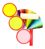Set for painting: paint pots, paint-roller, palette of colors isolated on white — Stock Photo
