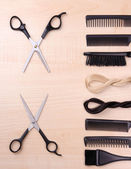 Professional hairdresser tools on table close-up — Stock Photo