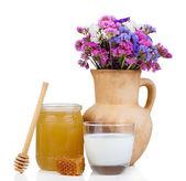 Honey and milk isolated on white — Stock Photo