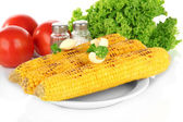 Delicious golden grilled corn with butter isolated on white — Stock Photo