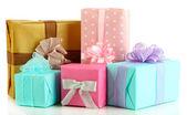 Mooie lichte geschenken, geïsoleerd op wit — Stockfoto