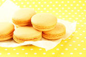 Gentle macaroons on table close-up — Stock Photo
