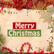 Christmas card on wooden table — Stock Photo #31588221