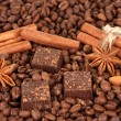 Chocolate sweets with cocoa,spices and nuts, on coffee beans background — Stock Photo