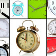 Collage of different clocks — Foto de Stock