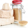 Stock Photo: Dry yeast isolated on white