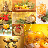 Collage of Christmas time and decorations — Stok fotoğraf