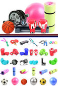 Sports equipment collage — Stockfoto
