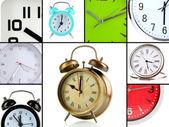 Collage de différentes horloges — Photo