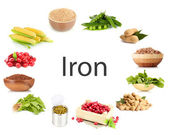 Collage of products containing iron — Foto de Stock